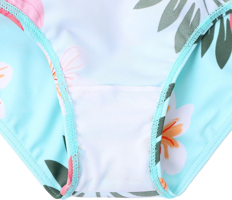 HUAANIUE M/ädchen Bademode Bikini Badeanzug Sonnenschutzjacke UV-Schutz UPF 50 Kinder Badebekleidung Set 3-11 Jahre