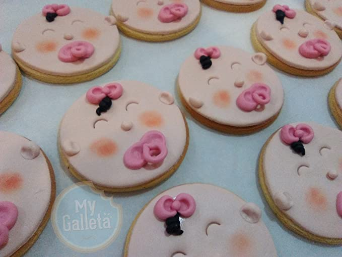 Lote de 10 galletas decoradas de caritas de bebé Niña