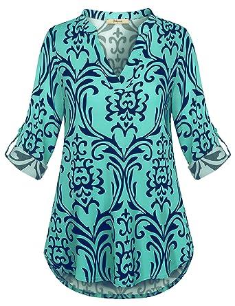 98b16fc62f7ef Bebonnie Women s 3 4 Roll Sleeve Casual V-Neck Tops Plaid Shirts ...