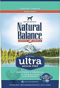 Natural Balance Original Ultra Grain Free Senior Dog Food, Chicken Formula, 11 Pounds