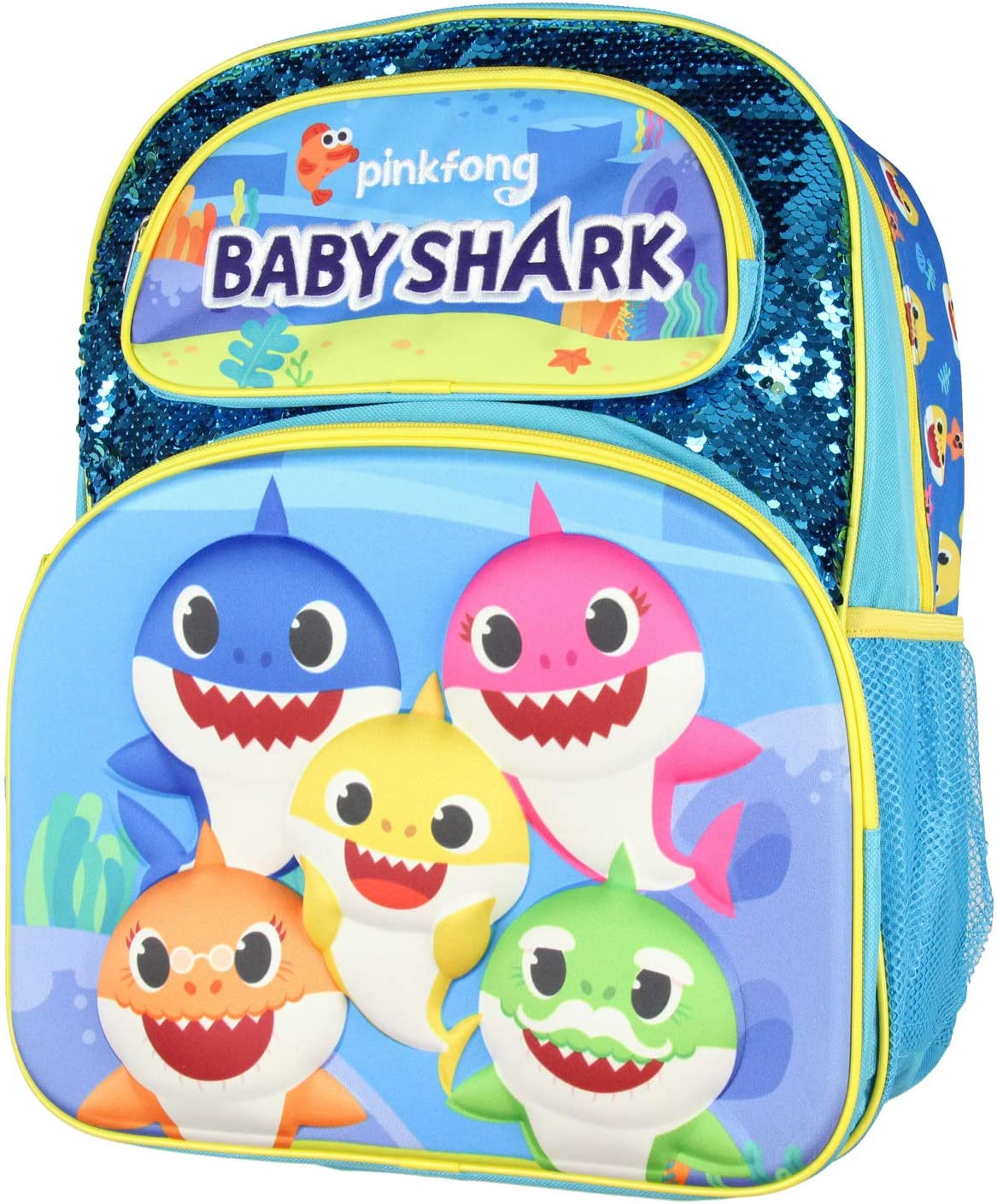 "Baby Shark Backpack 16"" 3D Molded Character Design With Magic Sequins Backpack Bag"