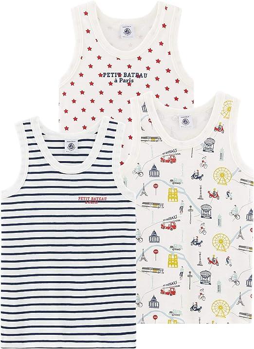 Petit Bateau Camiseta sin Mangas (Pack de 3) para Niños: Amazon.es ...
