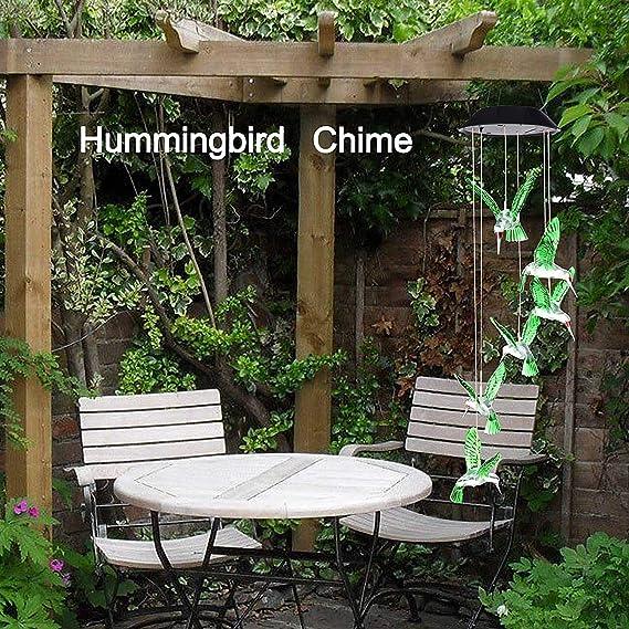 Teng® - Lámpara LED de viento con energía solar para jardín, patio ...