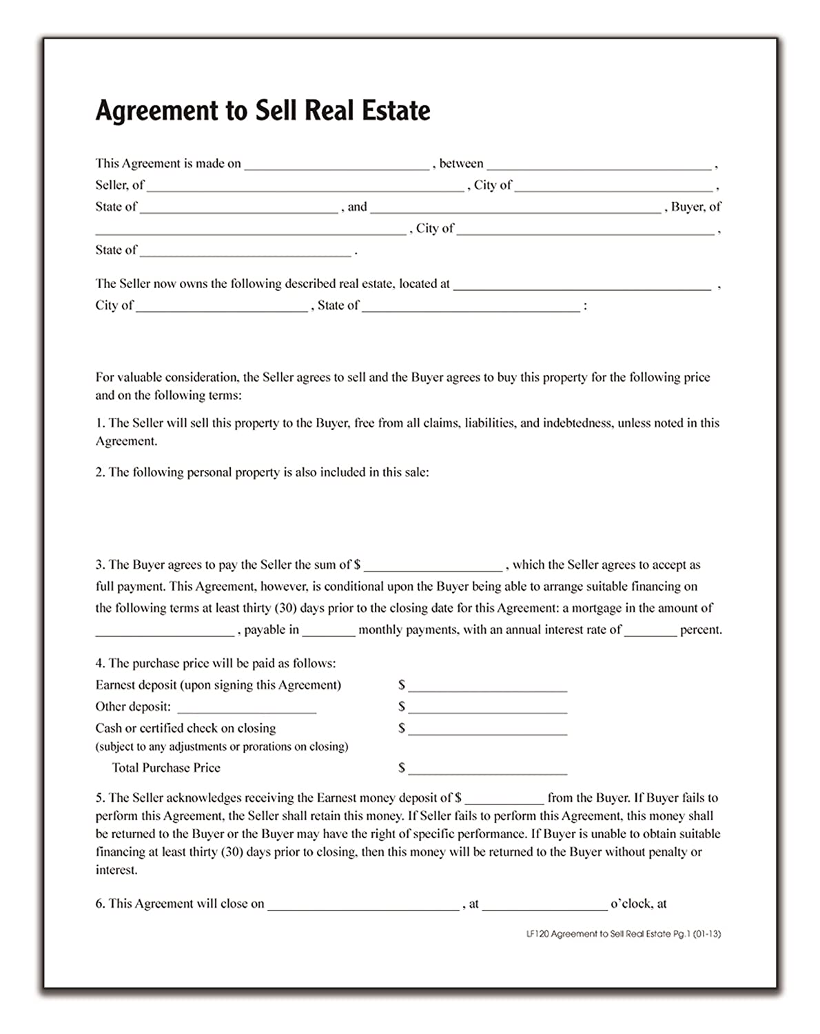 Amazon Adams Agreement To Sell Real Estate Forms and – Real Estate Purchase Agreement Template Free