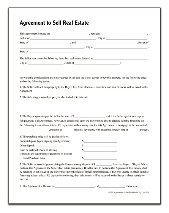 Amazon Adams Agreement To Sell Real Estate Forms And
