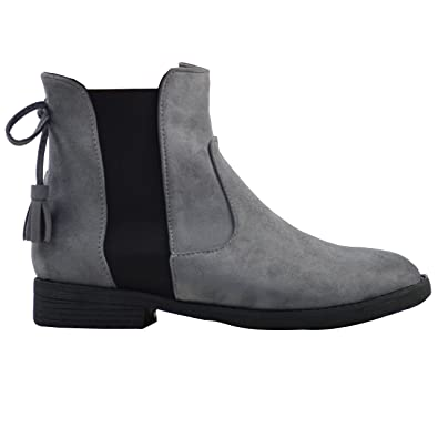 Womens Chelsea Biker Elasticated Faux Suede Casual Ankle Boots