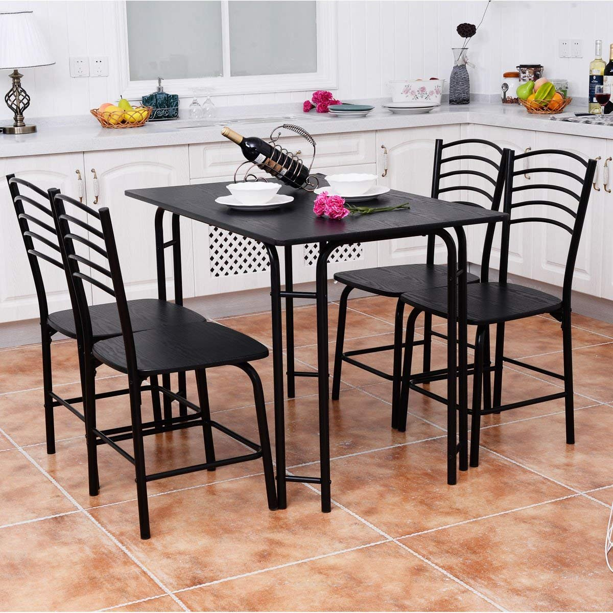 Black Style 3 Wood Metal Dining Room Breakfast Furniture Rectangular Table with 4 Chairs Giantex 5 PCS Dining Table and Chairs Set