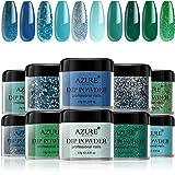 Dipping Nail Powder Colors Set - 10 Green Bule Glitter Dip Powders Colors Nails Set No Nail Lamp Needed for French Nail Manic
