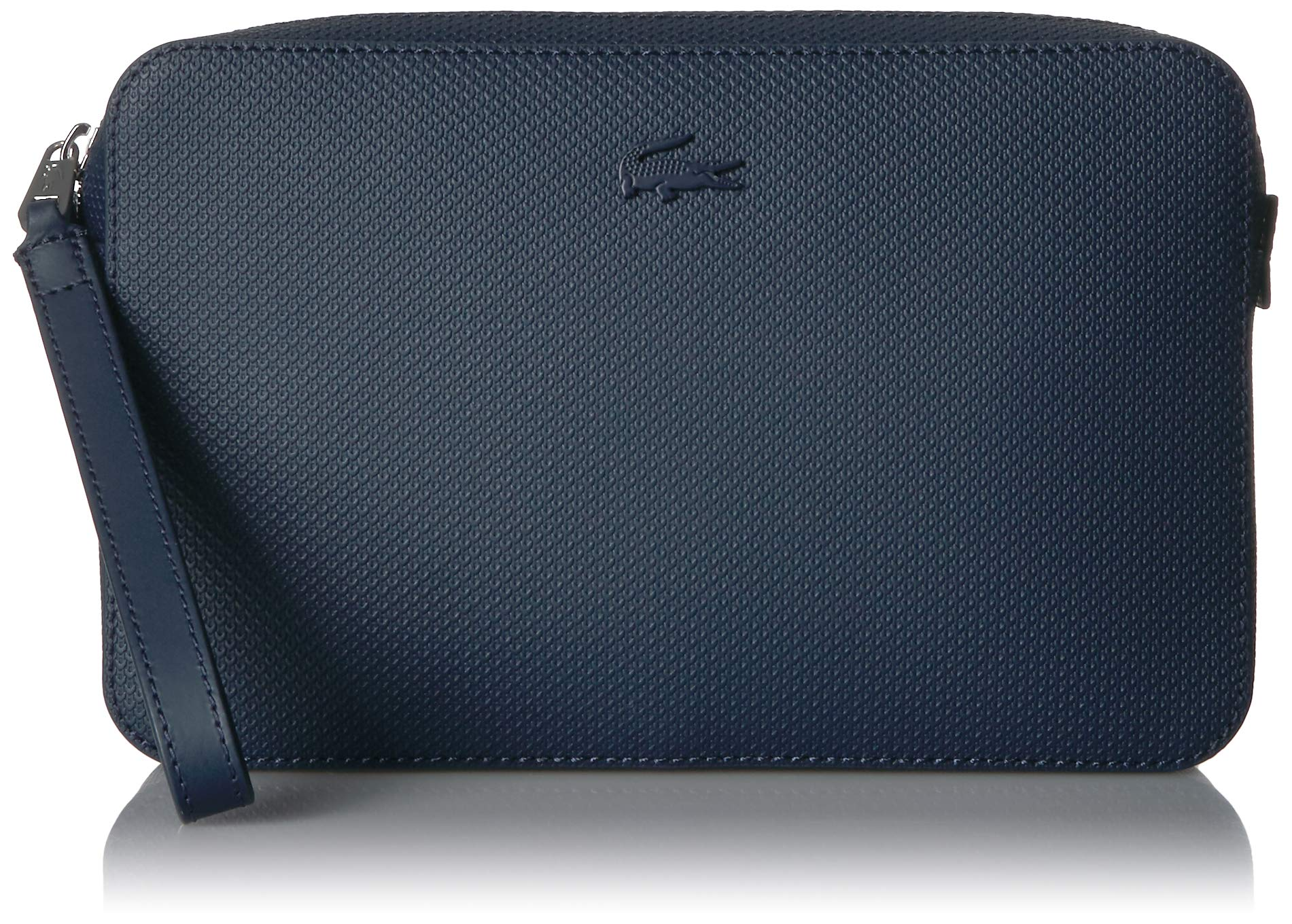 Lacoste Men's Chantaco Leather Zip Pouch with Strap, peacoat 00
