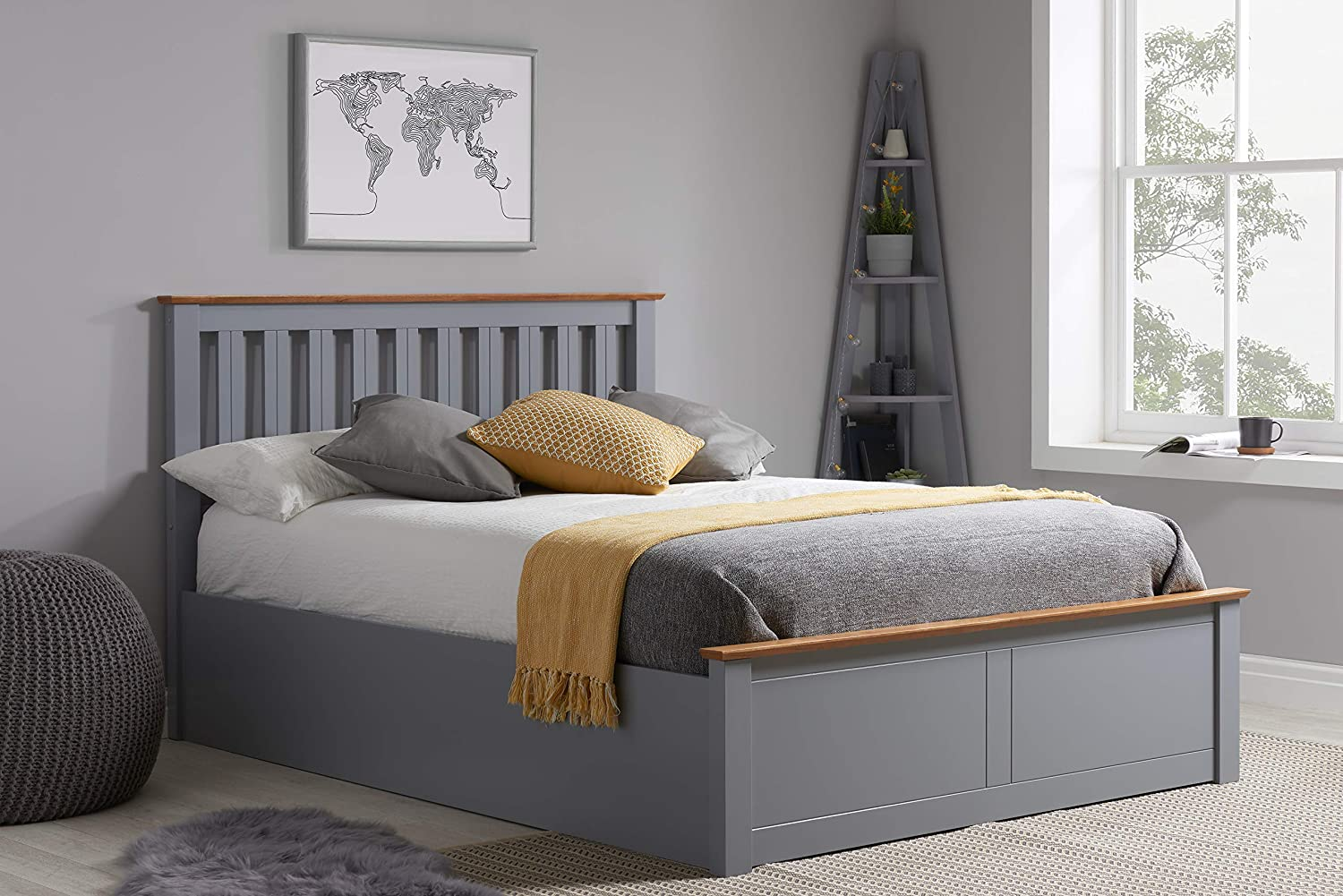 Superb Birlea Phoenix 5Ft Kingsize Ottoman Bed Stone Grey Oak Gmtry Best Dining Table And Chair Ideas Images Gmtryco