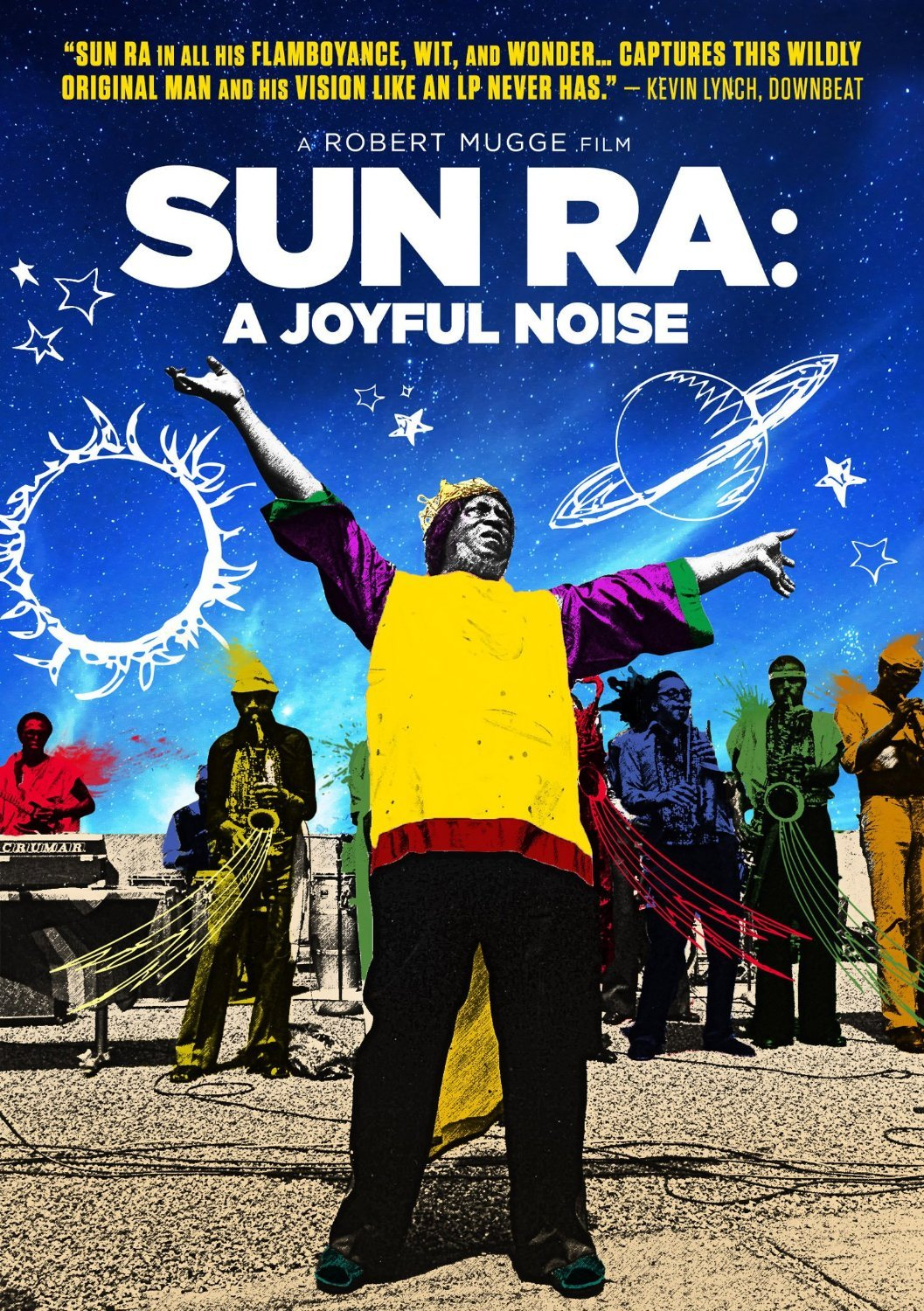 Cover art features Sun Ra standing in colorful clothing with his arms raised towards the sky surrounded by members of his Arkestra.