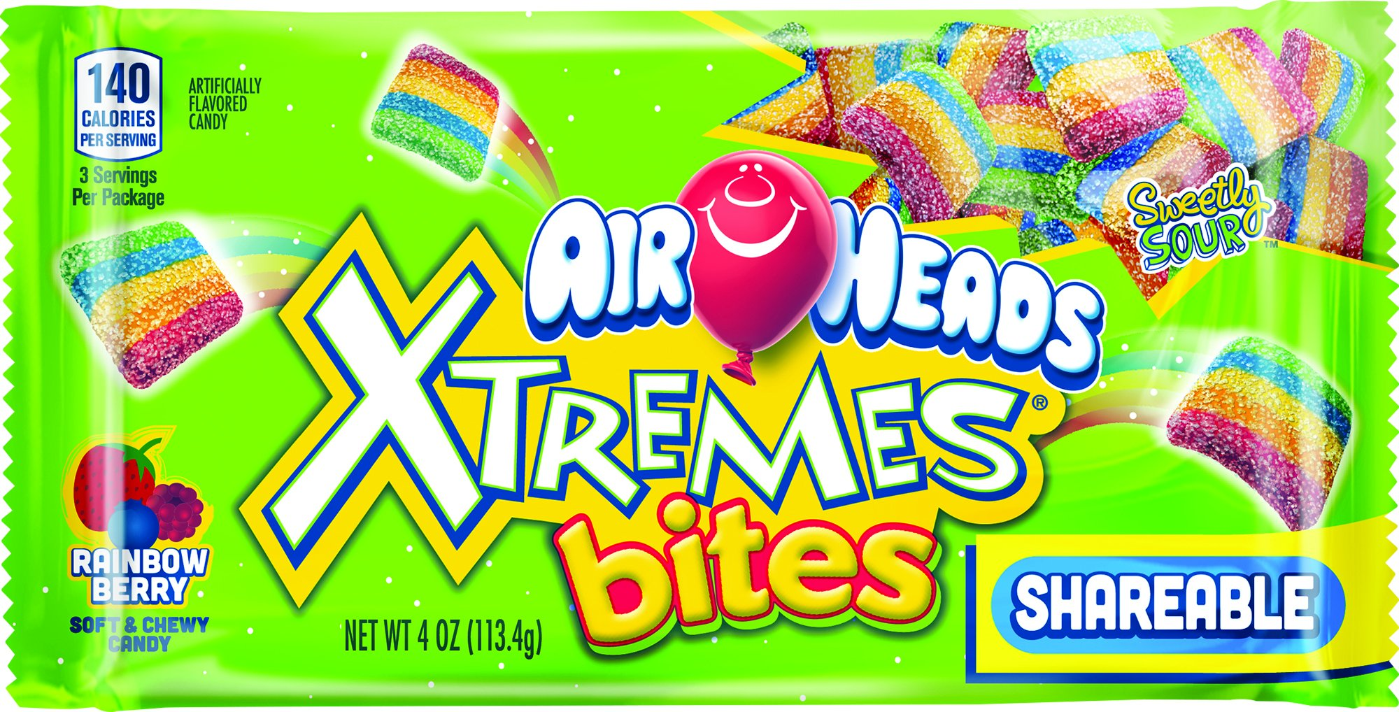 Airheads Xtremes Rainbow Berry Bites, 4 Ounce (Pack of 18)