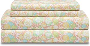 Elite Home Products Soft Microfiber Coastal Printed/Embroidered Sheet Set