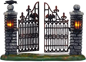Department 56 Halloween Accessories for Village Collections Miniature Spooky Wrought Iron Gate Lit Figurine, 4.53-Inch, Multicolor