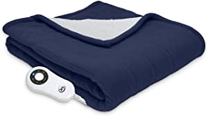 "Serta | Reversible Sherpa/Fleece Heated Electric Throw Blanket, 50""x60"" With 5 Setting Controller, Cobalt"