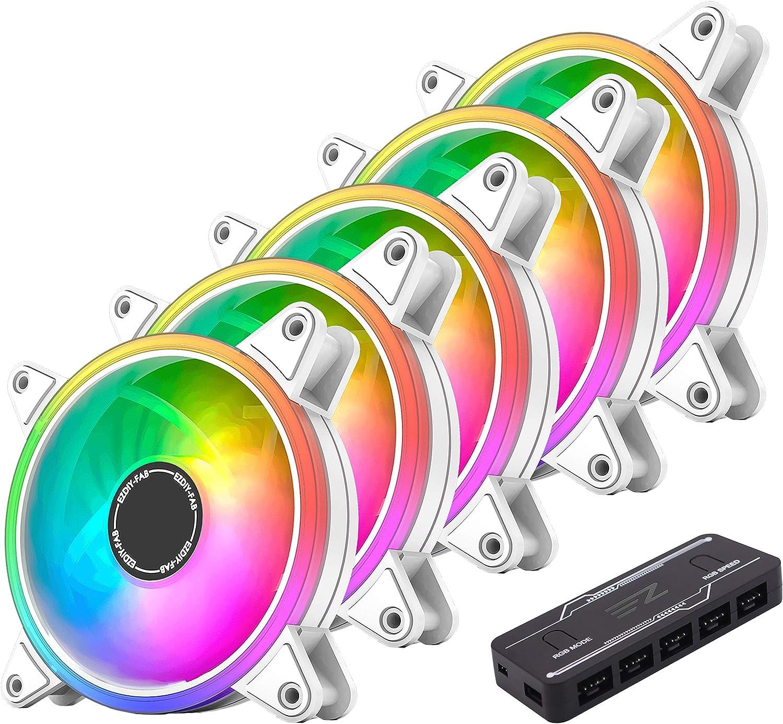 EZDIY-FAB - Ventilador de caja PWM RGB, 120 mm, con buje de ventilador PWM RGB, sincronización de placa base 5 V, ventilador de ordenador ARGB-5 Pack