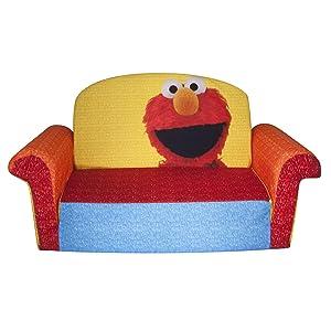 Marshmallow Furniture Children's 2 in 1 Flip Open Foam Sofa, Sesame Street's Elmo/Sesame, by Spin Master