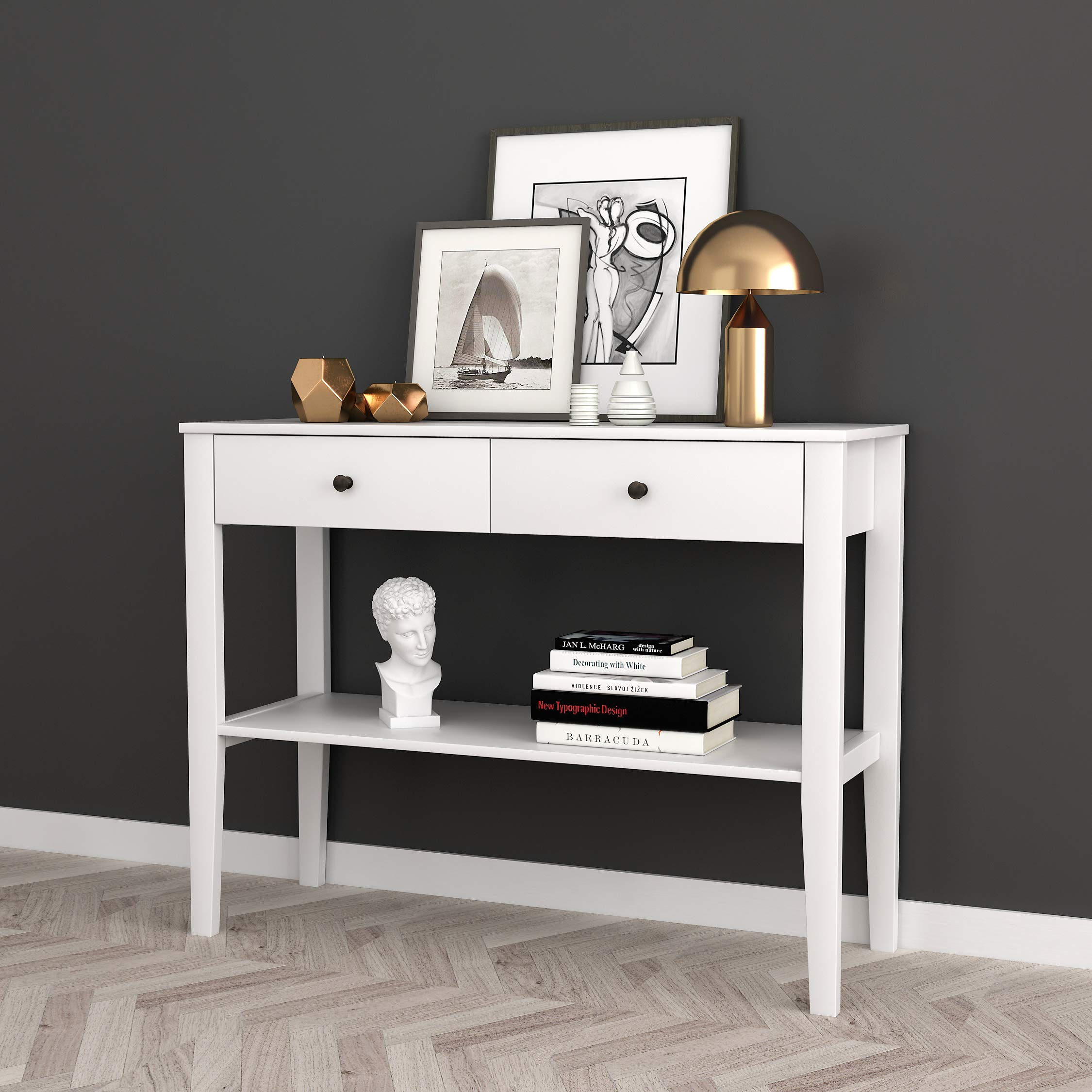 White Finish Entryway Console Sofa Table with Two Drawers and Shelf by eHomeProducts