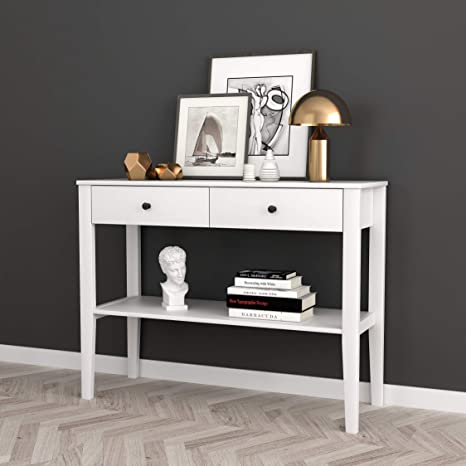 Strange White Finish Entryway Console Sofa Table With Two Drawers And Shelf Spiritservingveterans Wood Chair Design Ideas Spiritservingveteransorg