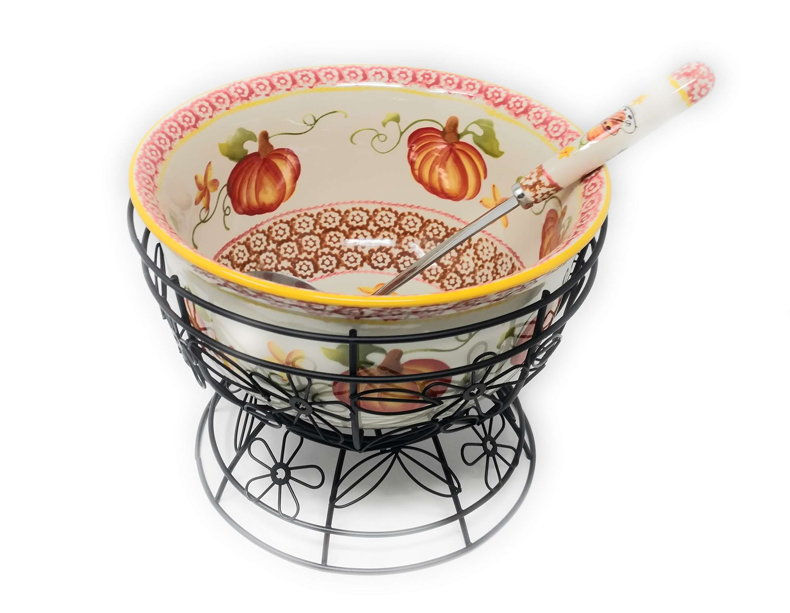 Temp-tations 4.5 qt Bowl w/ Wire Stand & Ladle - Old World Pumpkin