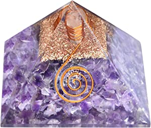 Healing Crystals Chakra Stones Emf Protection Orgone Pyramid, Reiki Energy Meditation Negative Ion Generator Pyramid For Positive Energy With Quartz And Copper (Amethyst, 50mm-60mm)