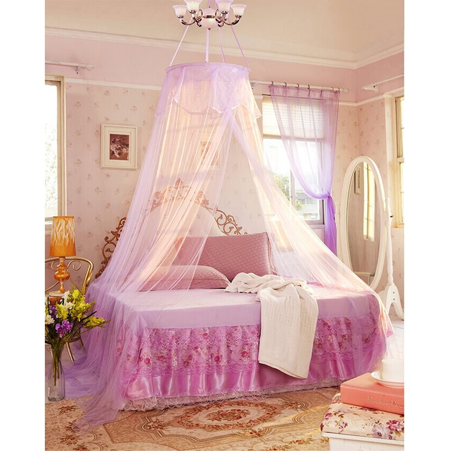 Gorgeous Bed Canopy One Size For All - Pink - Cream - Lilac - White (Cream) es-uk