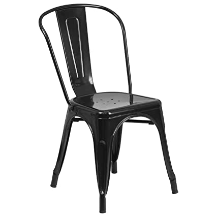 Amazon.com: Flash Furniture Black Metal Indoor-Outdoor Stackable ...