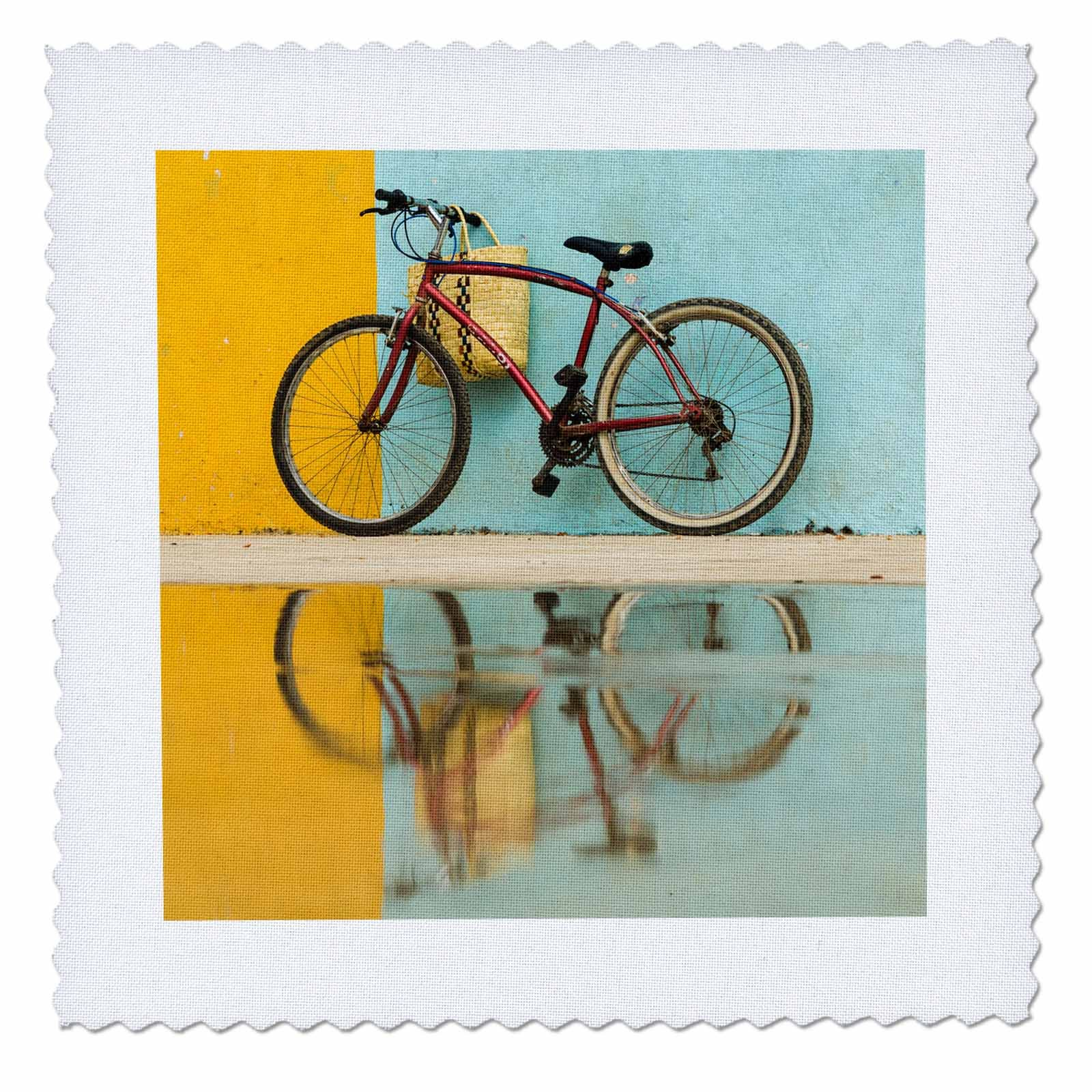 3dRose Danita Delimont - Bicycle - Cuba, Trinidad. Bicycle and reflection against yellow and blue walls. - 16x16 inch quilt square (qs_277162_6)