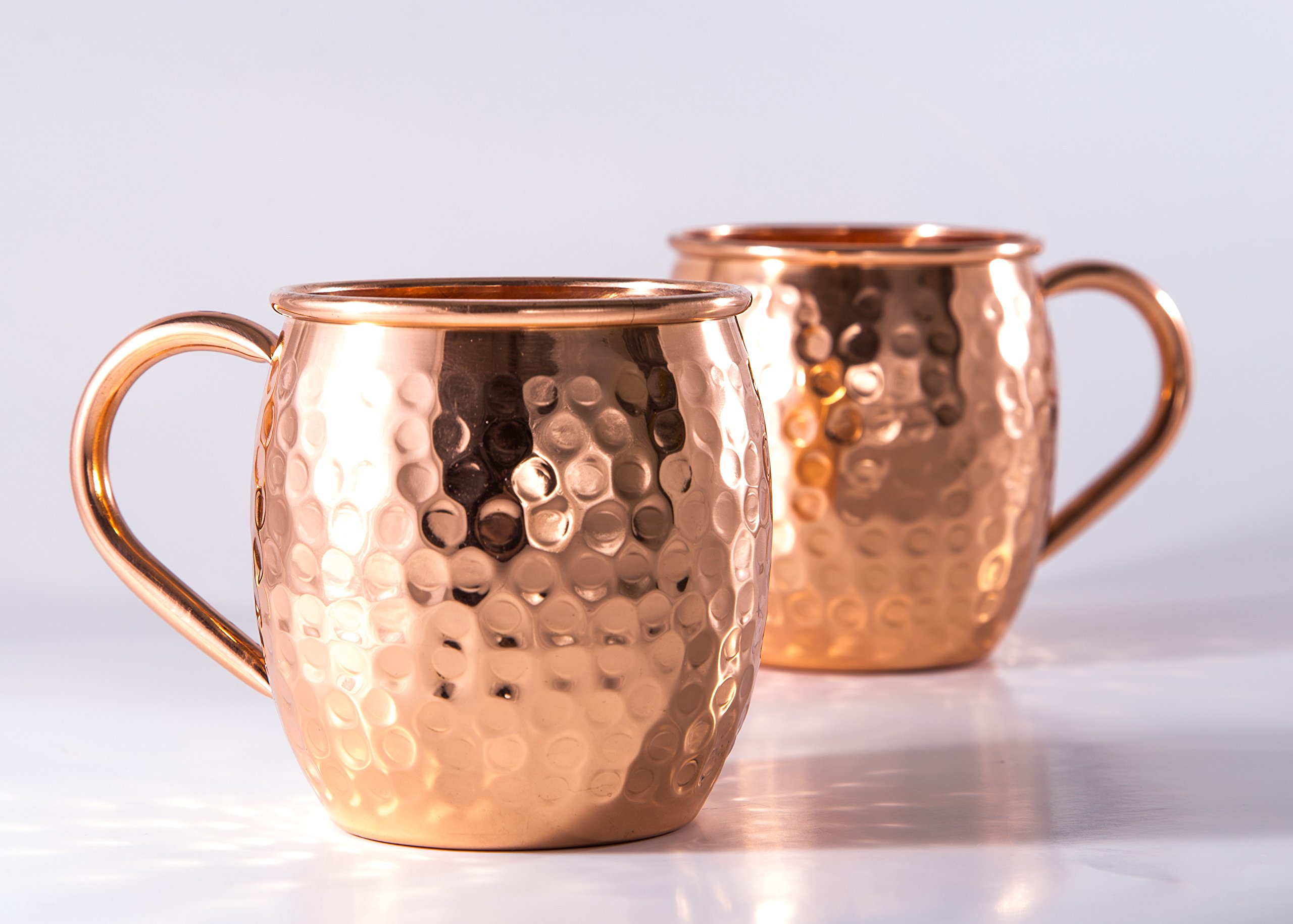 Moscow Mule Copper Mugs - Set Of 2-100% Handcrafted Pure Solid Copper Mugs -Our 16 oz Gift Set Makes A Great Gift Set For Men And Women - Good For Beer & Ginger Beer Cocktails