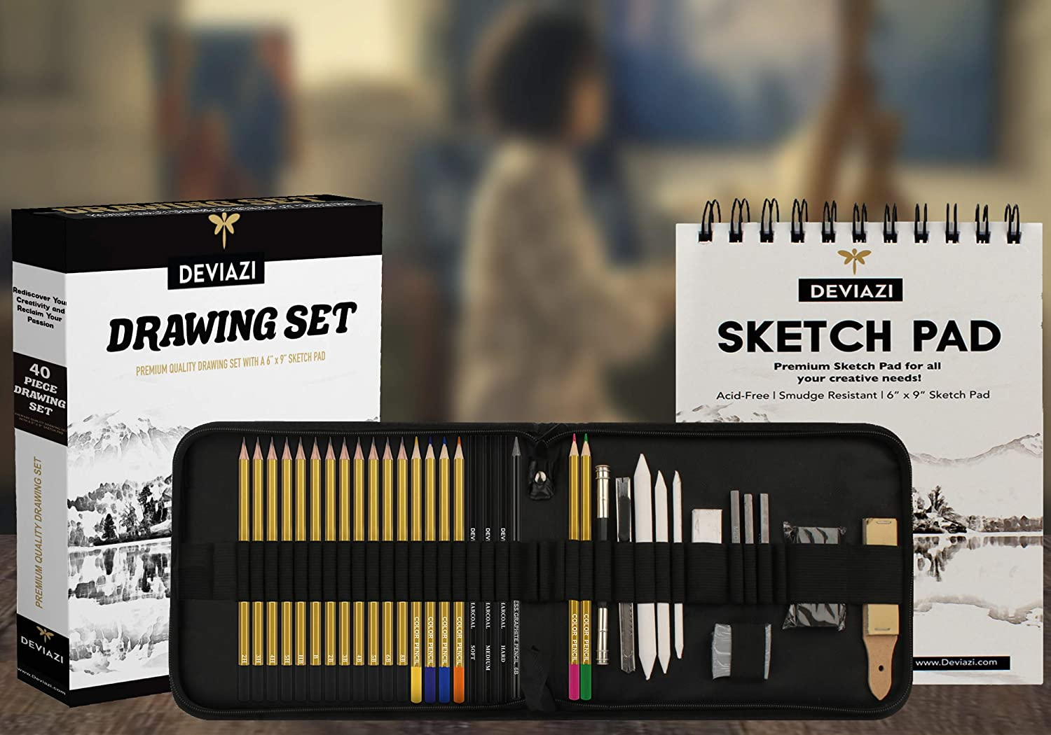 Deviazi (40-Piece Set) Drawing Artist Pencils Sketching Set. Includes Graphite, Charcoal Pencils, 100 Page Drawing Pad, Kneaded Eraser, Blending Stump with Travel case for Kids, Teens and Adults. : Office Products