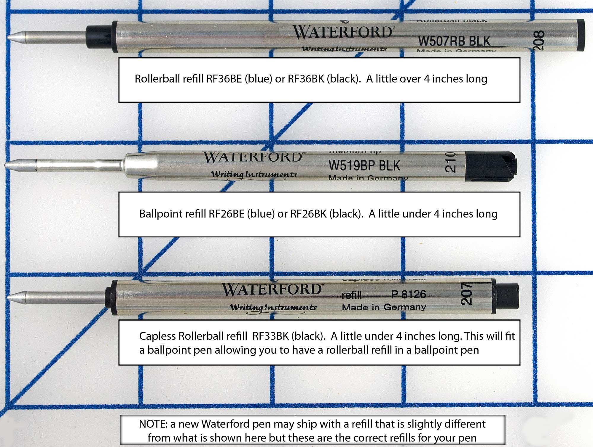 Waterford Capless Rollerball Pen Refill Black Six Pack by WATERFORD (Image #1)