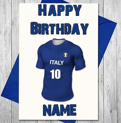 Personalizado Italia fútbol tarjeta de cumpleaños – cualquier nombre y numerados camiseta