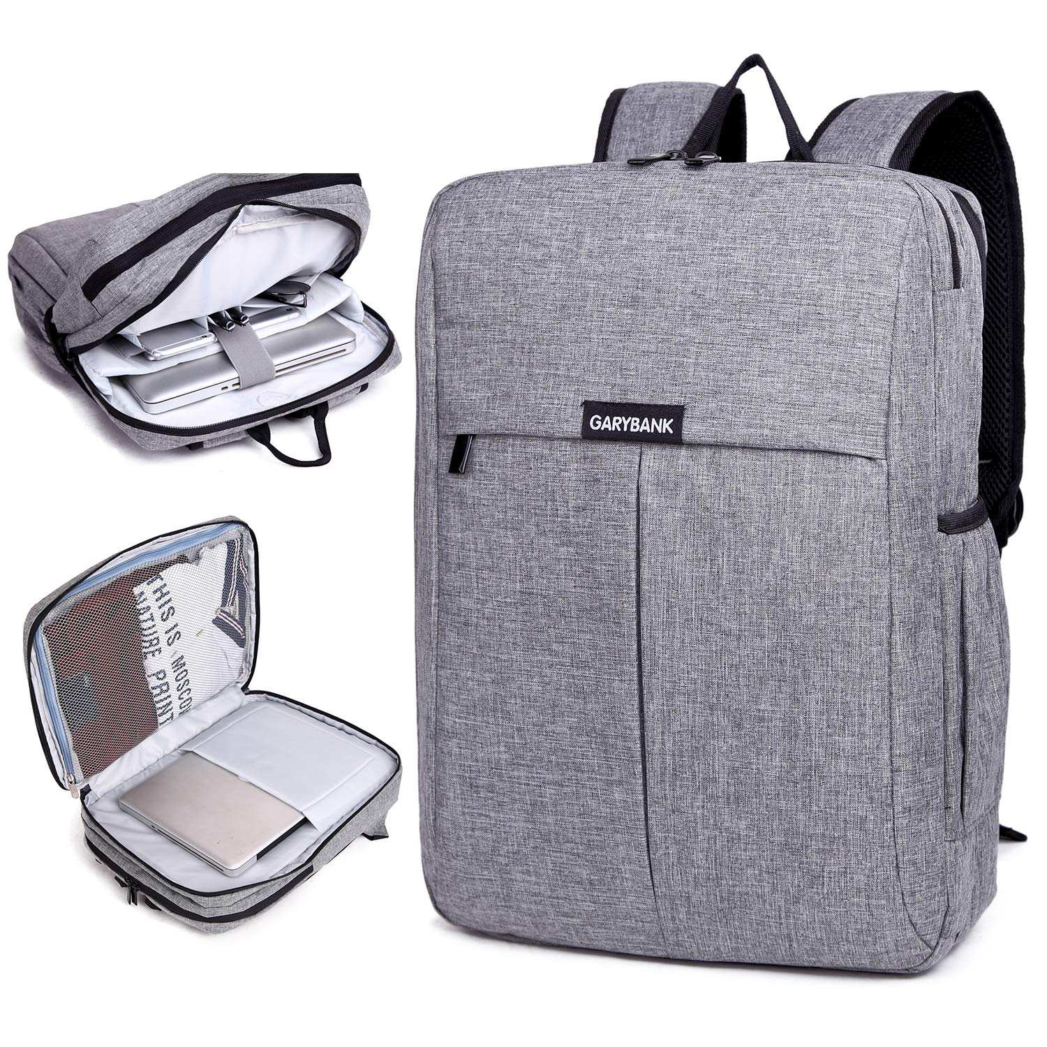 88fc701a6e Garybank Waterproof Laptop Backpack 15.6 for Women Men Both Top Loader and Panel  Loader Slim Business Rucksack Good for College School Travel Shoulder Tech  ...