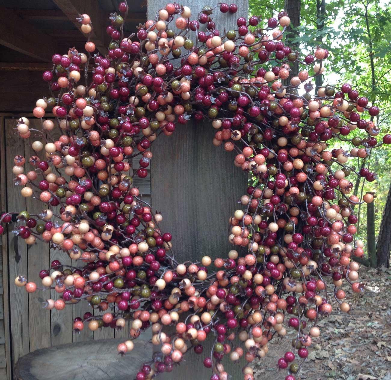 Flora Decor Vibrant Fall Berry Wreath 22''