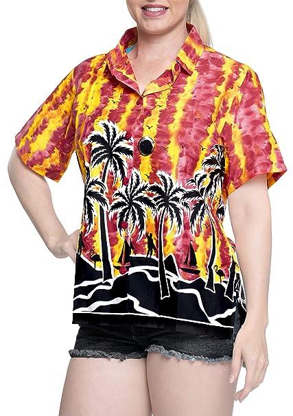 Hawaiano botón de la Camisa Blusas Mujeres aptas Abajo relajados Mangas Cortas Campo roja: Amazon.es: Ropa y accesorios