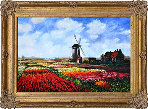 overstockArt Tulip Field with The Rijnsburg Windmill with Renaissance Bronze Framed Oil Painting, 46 x 34 , Multi-Color