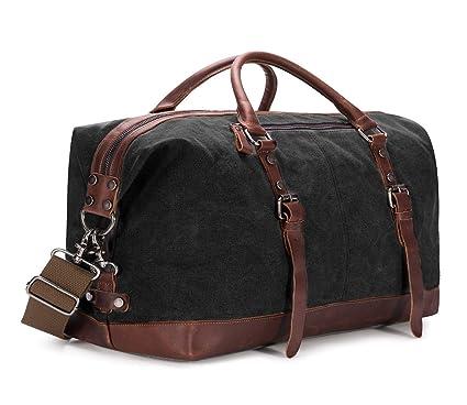cdc0b5b9d89b BAOSHA HB-14 Oversized Canvas Weekender Bag Travel Carry On Duffel Tote  Bags Weekend Overnight