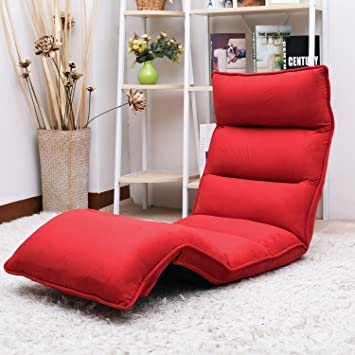 Attractive Merax Upholstered Lazy Sofa Floor Sofa Chair Folding Sofa Couch Lounger  (Red)