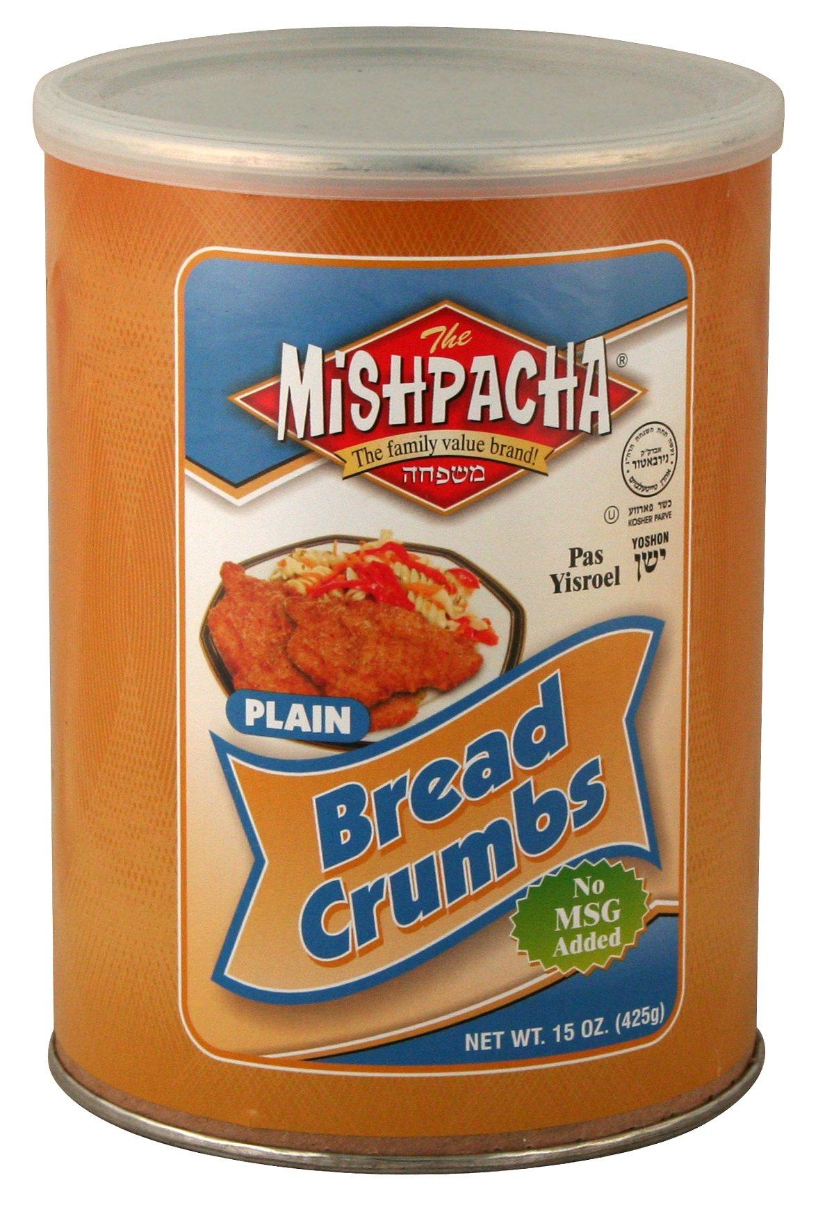 MISHPACHA Bread Crumbs - Plain, 15-Ounce Tubes (Pack of 6)