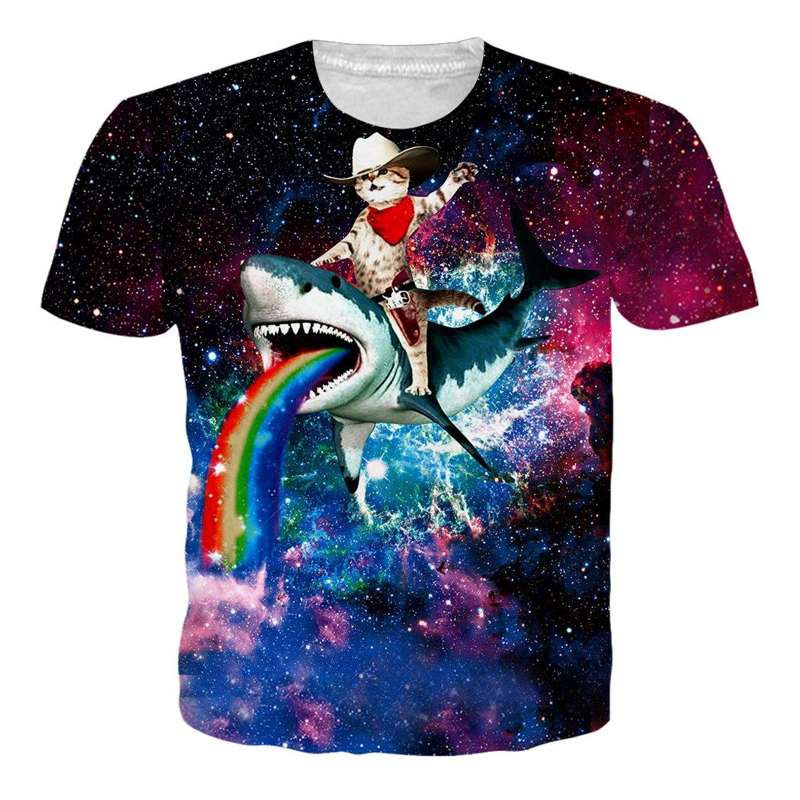 RAISEVERN Unisex 3D Print Funny Mens Short Sleeve Space Shark Ride Cat Rainbow T-Shirts Multicoloured