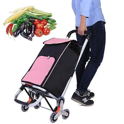 Kemanner Carrito de la compra plegable portátil escalador Dolly con 6 ruedas giratorias y bolsa de