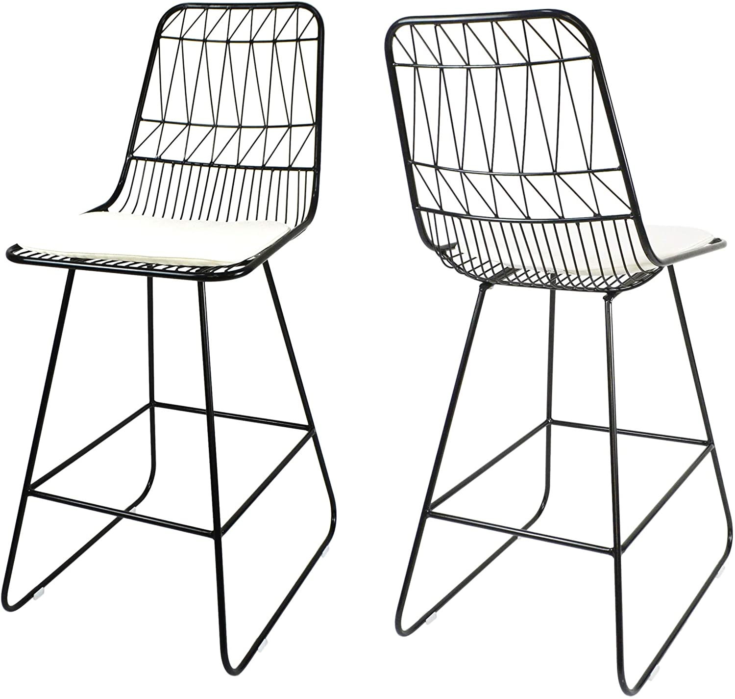 """Christopher Knight Home Lilith Counter Stools, 26"""" Seats, Modern, Geometric, Black Iron Frames with Ivory Cushion (Set of 2)"""
