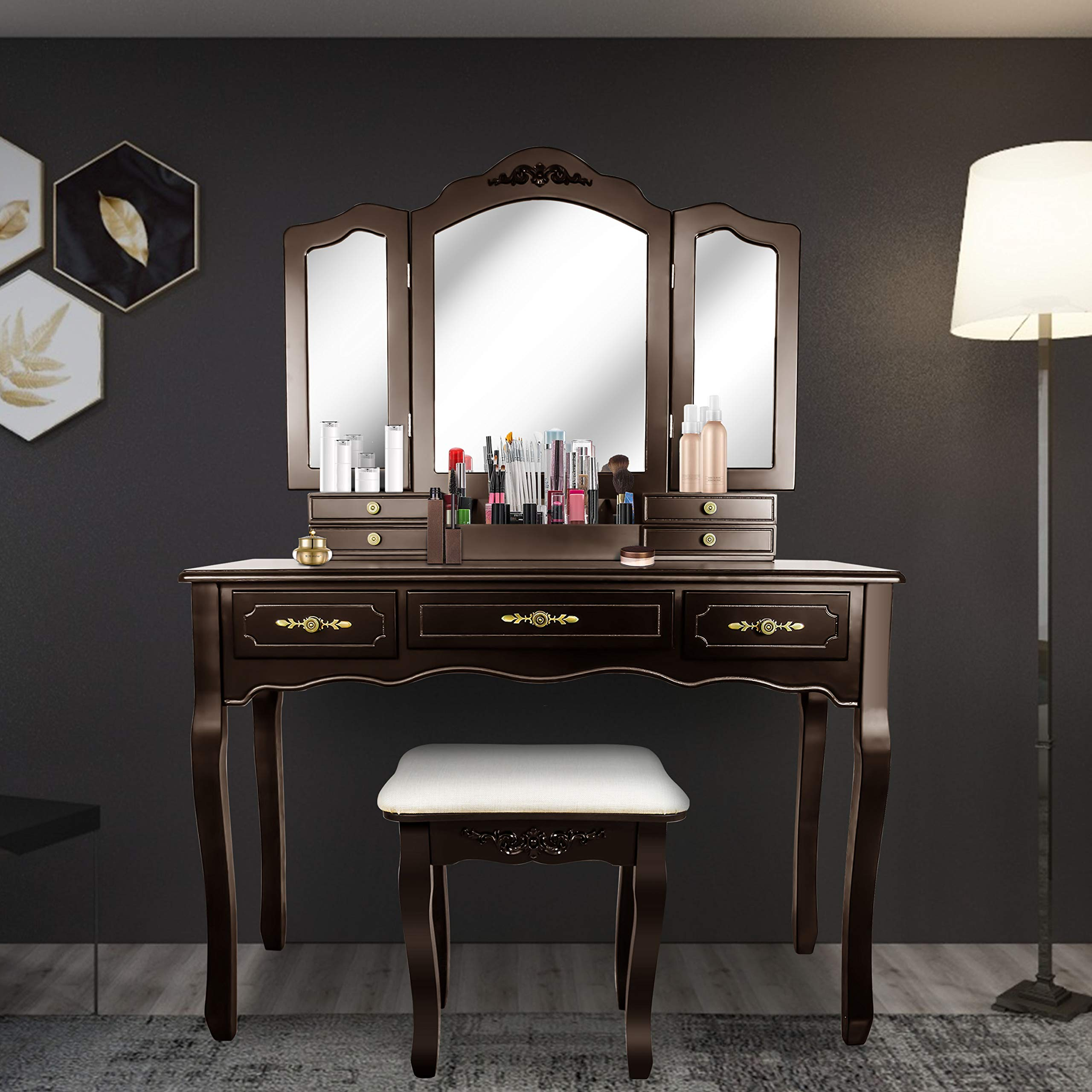 SCYL Color Your Life Tri Folding Mirror Vanity Table Set Dressing Table with Cushioned Stool& 7 Storage Drawer Wood Furniture (Espresso)