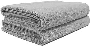Polyte Quick Dry Lint Free Microfiber Bath Sheet, Set of 2 (Gray, 35x70)