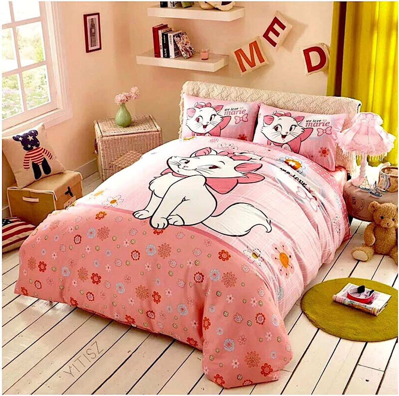 Featuring Disney Marie Cat Kitty Bedding Sheet Set Single Queen Twin Full Size 【Free Express Shipping】 【100% Cotton】 Cartoon Girly Pink 3 and 4 Pieces The Aristocats Bed Sheets (Queen Size)