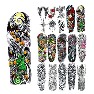 18 Pcs Full Arm Temporary Tattoo Stickers, Waterproof Temporary Tattoo,Black Body Tattoo Stickers For Women,Men,Halloween,Party,Masquerade