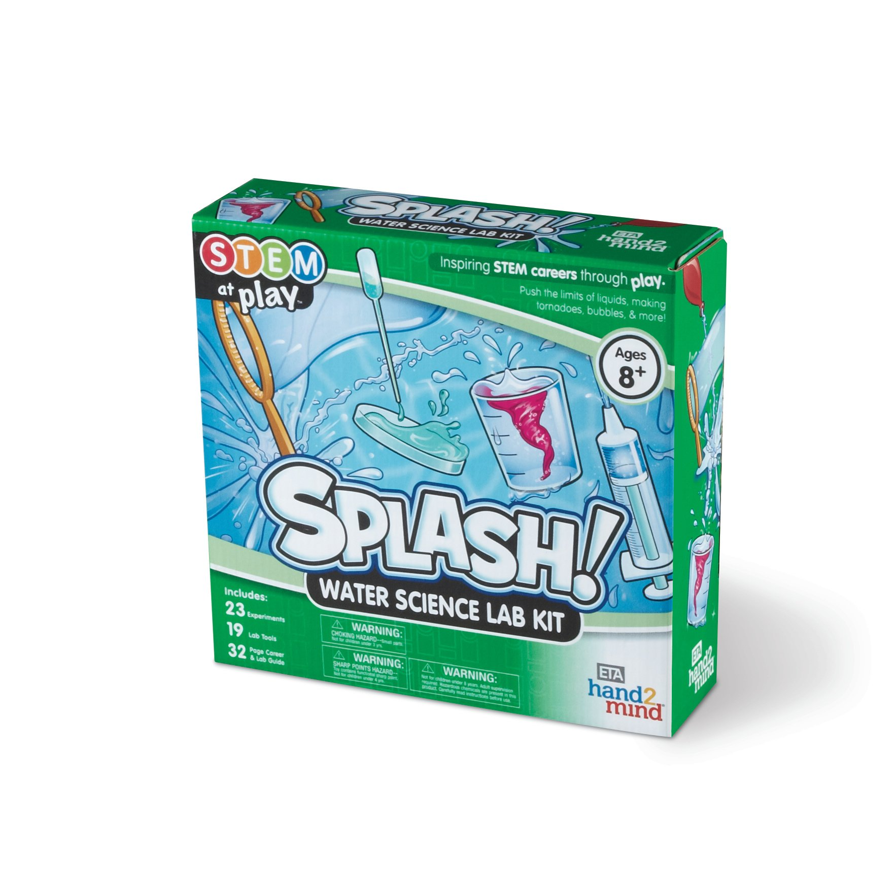 ETA hand2 mind Splash! Water Science Kit, 23 STEM Activities for Kids, Making Tornadoes, Bubbles Experiments