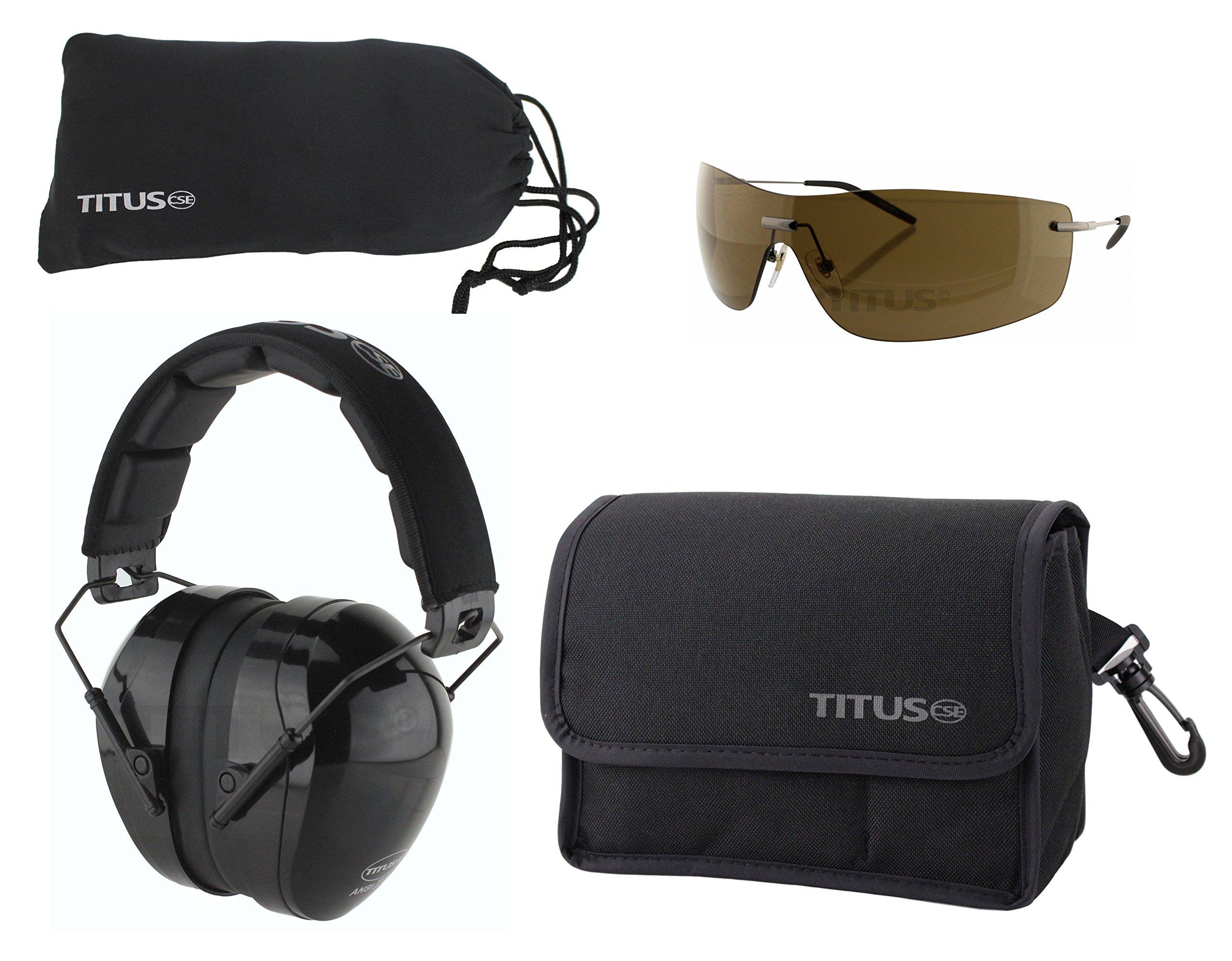TITUS Safety Earmuffs & Glasses Combo (Black - Contoured, G16 Bronze w/Euro-style Metal Frame)