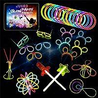 JUVAD Glow Party Pack XXL Spécial ACCESSOIRES - 150 Bracelet Fluo Fluorescent Lumineux à Craquer et Accessoires : Lunettes, Serre-Têtes, Épée, Baguette Magique, Fleure, Boule et 100 fois plus!