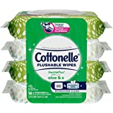 Cottonelle GentlePlus Flushable Wet Wipes with Aloe & Vitamin E - 4 Flip-Top Packs, 168 Total Flushable Wipes